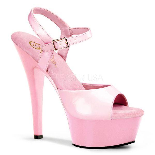 Klassische Plateau Sandalette baby pink Lack KISS-209